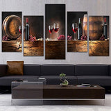 5 Pcs Canvas Art Fruit Grape Red Wine Glass Picture for Kitchen Bar Decor Canvas Prints Wall Paintings With Framed Ready to Hang