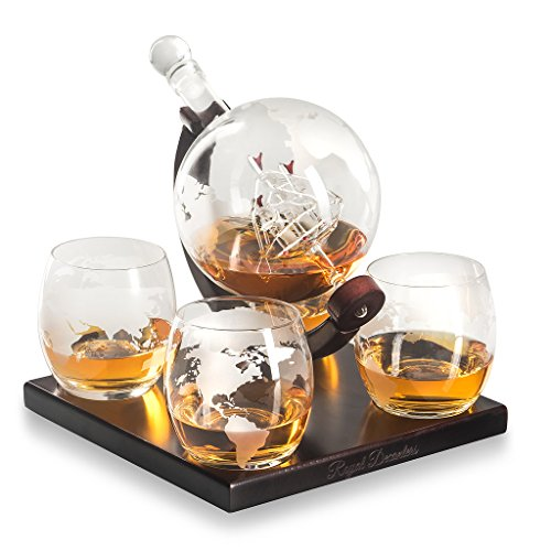Etched Globe Decanter Gift Set- Includes 4 Glasses (850ML)