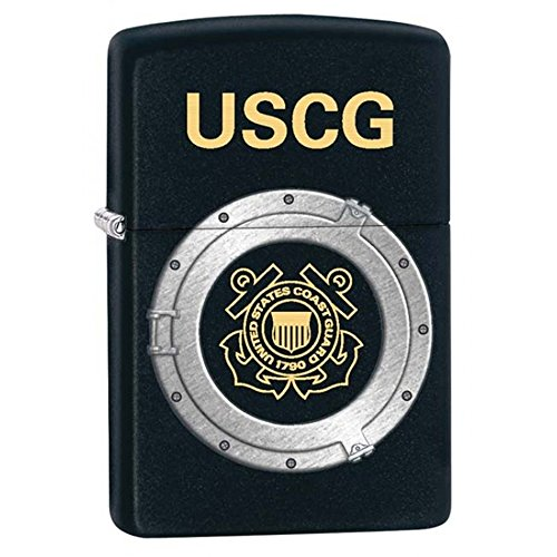 Coast Guard Black Matte Zippo Outdoor Indoor Windproof Lighter Free Custom Personalized Engraved Message Permanent Lifetime Engraving on Backside