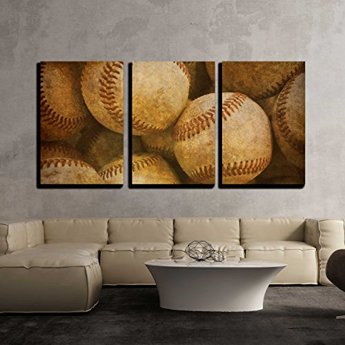 - 3 Piece Canvas Wall Art - Aged Vintage baseball background - Modern Home Decor