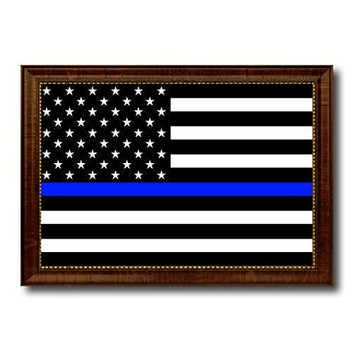 Thin Blue Line Honoring our Men and Women of Law Enforcement American Police USA Flag Canvas Print with Brown Picture Frame Home Decor Wall Art Decoration Gifts