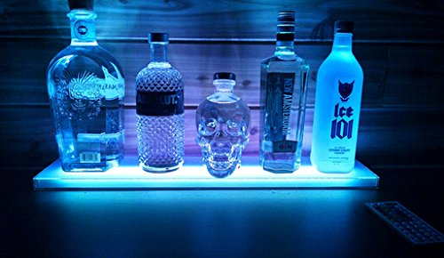 2 Ft LED Lighted Liquor Bottle Display Shelf Includes Remote Control