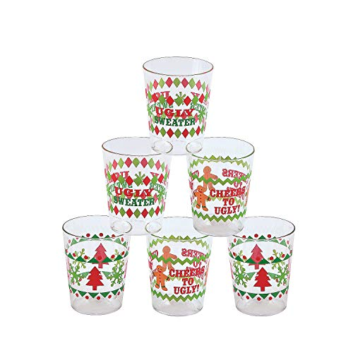 Ugly Sweater Party Shot Gasses - 24 drinking game shot glasses funny sayings by happy deals