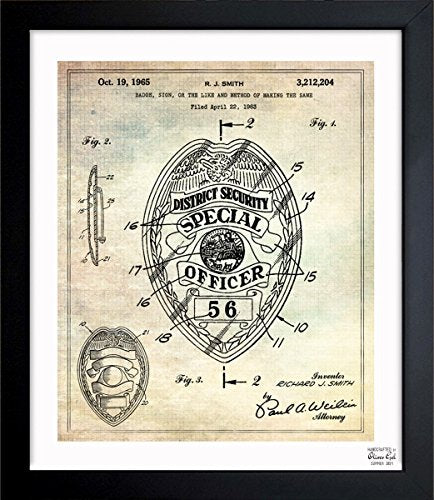Police Badge 1965 Vintage Framed Wall Art Print for Home decor & Office. The Classic Wall Decor Blueprint Collection by The Oliver Gal Artist Co. Hand Framed and Ready to Hang. 26x32 inch