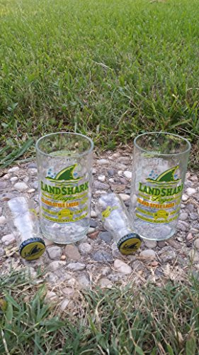 Set of 2 upcycled Land Shark glasses and 2 shot glasses
