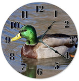 "10.5"" SWIMMING MALLARD DUCK CLOCK - Large 10.5"" Wall Clock - Home Décor Clock"