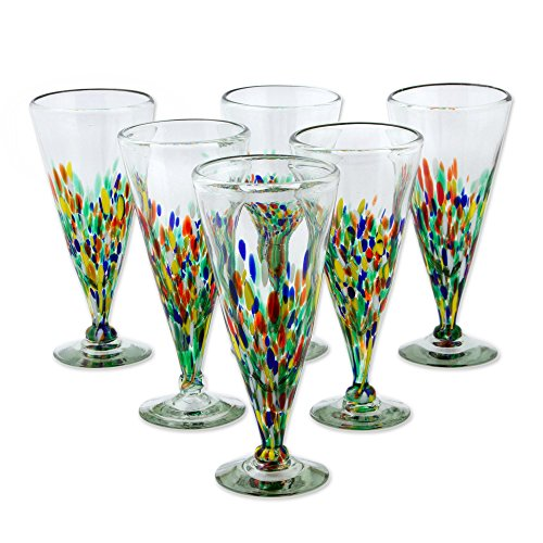 NOVICA Hand Blown Multicolor Recycled Glass Cocktail Glases, 9 oz 'Multicolor Specks' (set of 6)