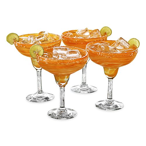 NOVICA Hand Blown Orange Recycled Glass Margarita Glasses, 9 oz 'Butterscotch Swirl' (set of 4)