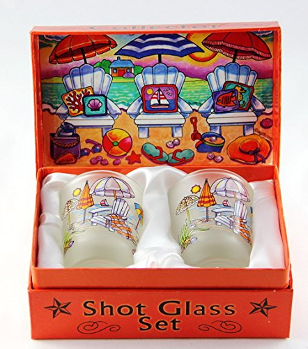 Beach Chairs Caribbean Boxed Shot Glass Set (Set of 2)