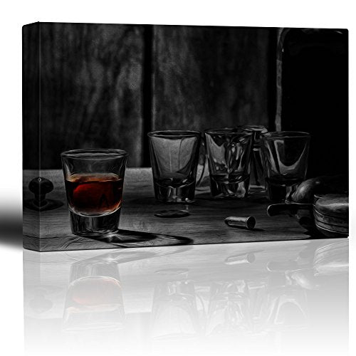 Wall26 - Centered in on Single Shot of Whiskey Surrounded by Shot Glasses and a Revolver - Canvas Art Home Decor - 16x24 inches
