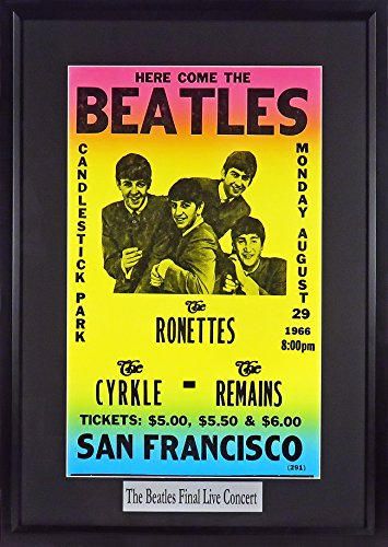 The Beatles @ Candlestick Park Concert Poster (w/ Floating Plate)