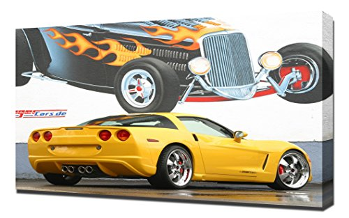 Yellow Corvette - Canvas Art Print - Wall Art - Canvas Wrap