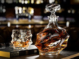5-Piece Everest Whiskey Decanter Set. 4 Glasses and Scotch Decanter with Stopper - Clarity Glassware by Ashcroft