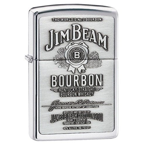 Personalized Jim Beam Pewter Emblem Chrome ZIPPO LIGHTER - Free Engraving