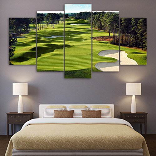 5 Pannel Wall Decor Golf Course Wall Art Painting, Home Decor Pictures - With Wooden Frame