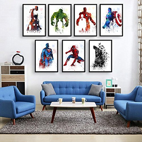 Superhero Collector Prints - Set of Seven Photos Unframed - Batman, Spiderman, Captain America, Hulk, Thor, Iron Man, and Superman - Great Gift for Boy's Room Decor (340)