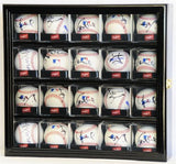 20 Baseball Arcylic Cubes Display Case Cabinet Holders Rack w/ UV Protection, Black