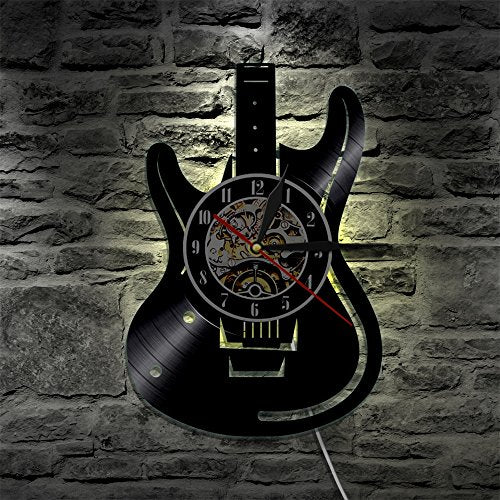 LED Wall Lights, Night Light, Wall Lamp, Musical Guitar Led Vinyl Wall Clock Color Change Decorative Home Vintage Gift Silhouette LP Backlight Remote Controller