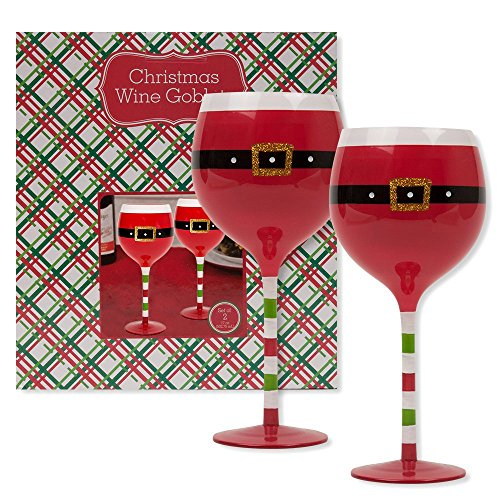 Christmas 16.9 oz Santa Belt Wine Glasses (Set of 2) (Santa Belt)