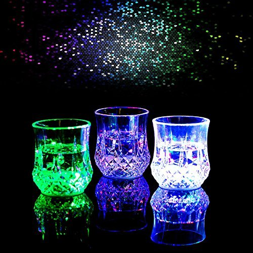 3 PIECE lIQUID Activated Colorful Flashing LED Light Up Shot Glasses
