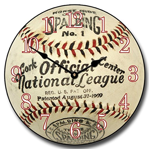 1909 Vintage Baseball Wall Clock, Available in 8 sizes, Most Sizes Ship 2 - 3 days, Whisper Quiet.