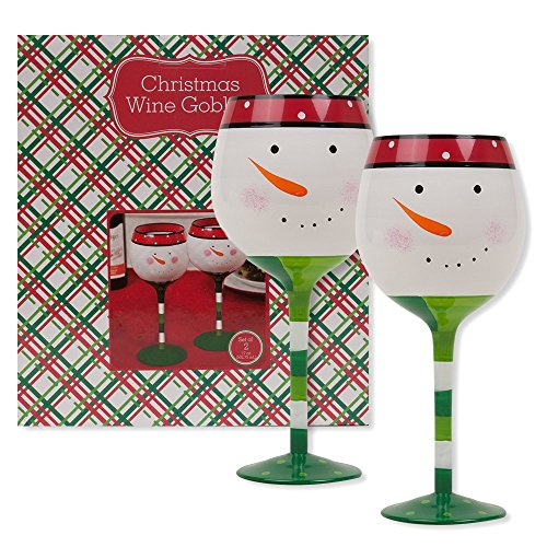Christmas 16.9 oz Snowman Wine Glasses (Set of 2) (Snowman)