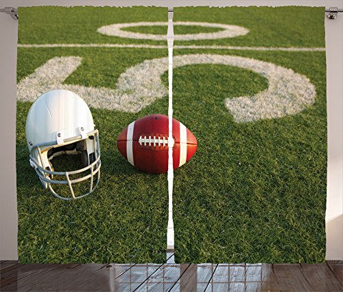 Am Sports Decor Collection, American Football and Helmet on the Field with the Fifty Yard Line Design Print 2 Panels Set, 108 X 84 Inches, Green Burgundy White