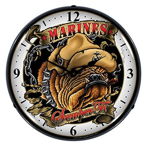 "Collectable Sign and Clock SM1103310 14"" Marine Bulldog Lighted Clock"