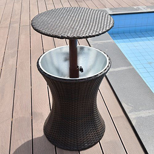Lovely Giantex Adjustable Outdoor Patio Rattan Ice Cooler Cool Bar Table  YW87