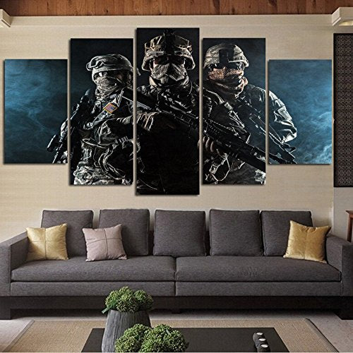 5 Pannel Wall Decor Rank-and-file soldiers Painting - With Wooden Frame