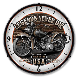 "Collectable Sign and Clock SM1103308 14"" Legends Motorcycle Lighted Clock"