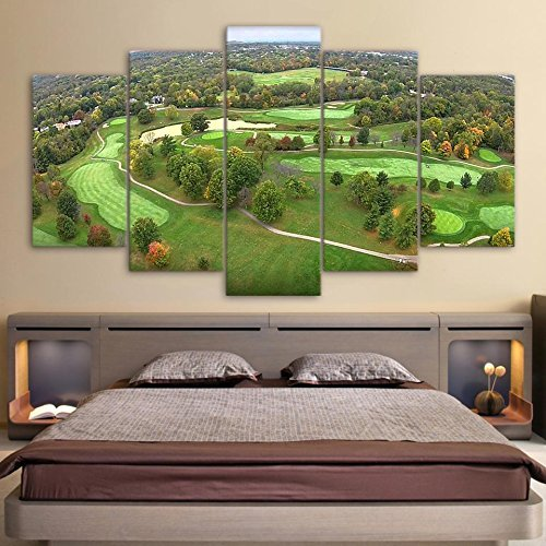5 Panel Wall Decor Golf Course Painting - With Wooden Frame