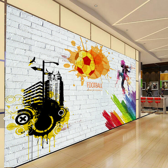 Custom Wall Mural Brick Wall City Graffiti Football Basketbal