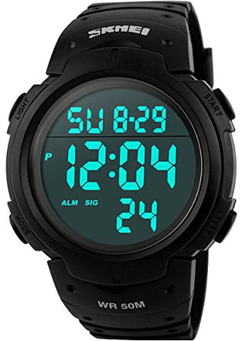 Men's Digital Sports Watch LED Screen Large Face Military Watches and Waterproof Casual Luminous Stopwatch Alarm Simple Army Watch - Black - Dans Awesome Store