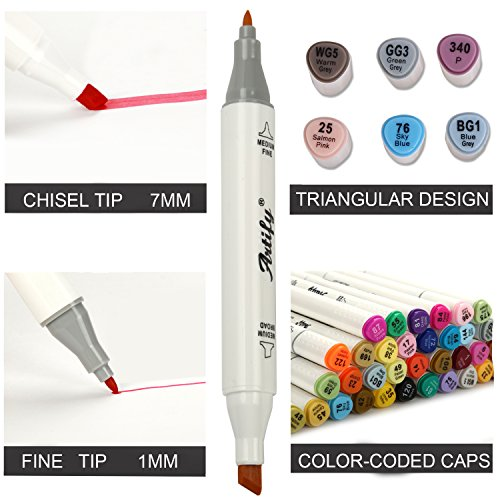 Artify Artist Alcohol Based Art Marker Set/ 40 Colors Dual Tipped Twin Marker Pens with Plastic Carrying Case/AP Certified - Dans Awesome Store