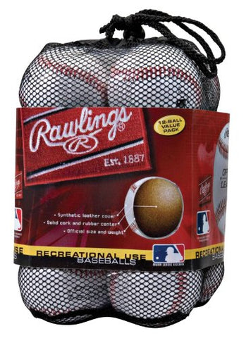 Rawlings Official League Recreational Use Baseballs, Bag of 12, MENOLB3BAG12 - Dans Awesome Store