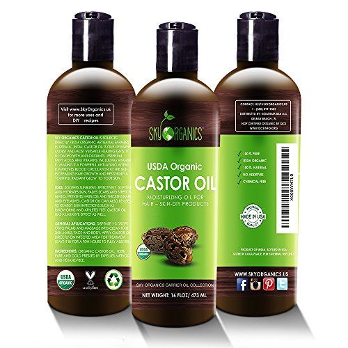 Organic Castor Oil By Sky Organics 16oz: Cold-Pressed, 100% Pure, Hexane-Free Castor Oil - Moisturizing & Healing, For Dry Skin, Hair Growth - For Skin, Hair Care, Eyelashes - Caster Oil - Dans Awesome Store