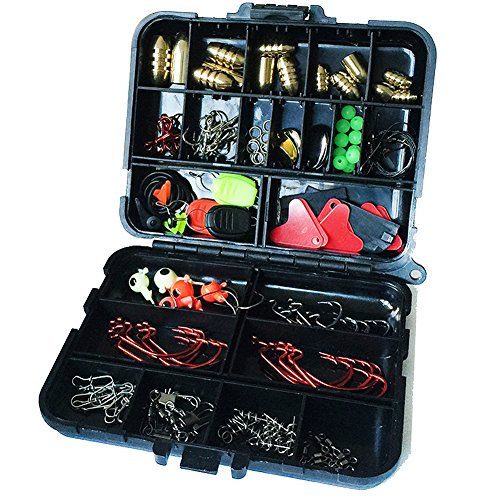 Oak-Pine 128Pcs/Set Fishing Accessories Set Carp Catfish Freshwater Saltwater Fishing Tackle Box - Hooks, Swivels, Double Loops, Spinners, Luminous Balls, Leaders, Line Stoppers, Jig Heads, Etc - Dans Awesome Store