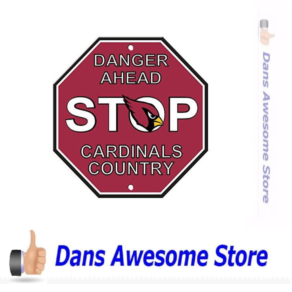 "Arizona Cardinals Stop Sign, 12"" x 12 - Dans Awesome Store"