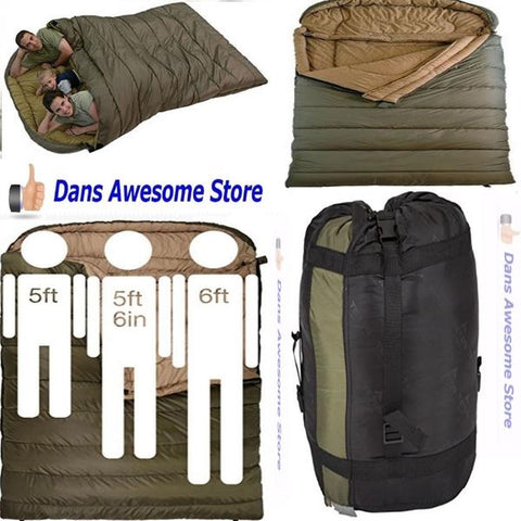 Cold Weather Sleeping Bag Zero Degree 2 Person Queen Size Oversized Camping New - Dans Awesome Store