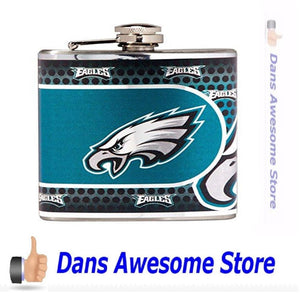Great American Products NFL Philadelphia Eagles Stainless Steel Hip Flask with Metallic Graphics, 6-Ounce, Silver - Dans Awesome Store