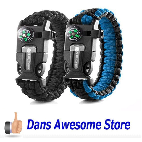 X-Plore Gear Emergency Paracord Bracelets | Set Of 2| The ULTIMATE Tactical Survival Gear| Flint Fire Starter, Whistle, Compass & Scraper/Knife| BEST Wilderness Survival-Kit -- Camo(R)/Black(R) - Dans Awesome Store