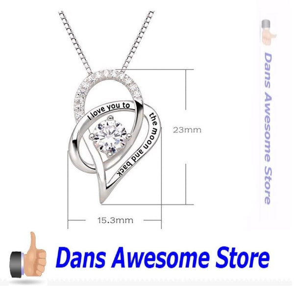 Jewelry Sterling Silver Necklace Love Heart Pendant Date Gift Wife Girl Friend - Dans Awesome Store