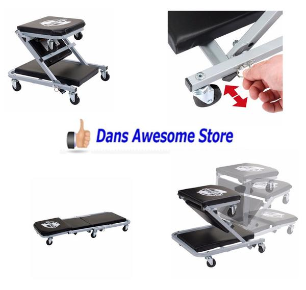 Mechanic Creeper Seat Rolling Stool Chair Shop Work Garage Tool Tray Car Auto - Dans Awesome Store