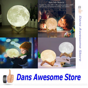 Moon Light - 3D Printing Moon - Stepless Dimmable - Moon Lamp Shade - Warm and White Touch Control Brightness with USB Charging - Moon Decor - Lunar Night Light with Wooden Mount - Moon Gifts - Dans Awesome Store