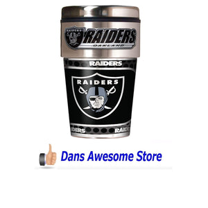 NFL Oakland Raiders Metallic Travel Tumbler, Stainless Steel and Black Vinyl, 16-Ounce