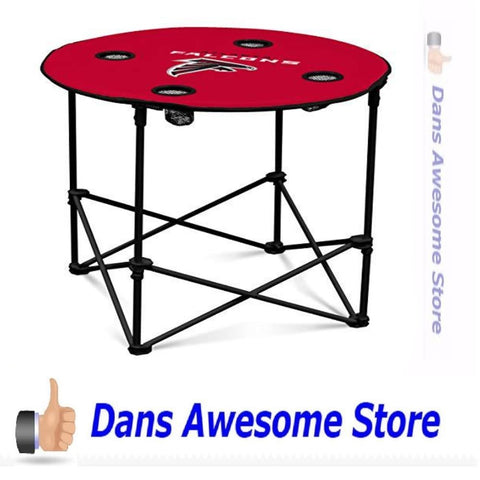 Logo Brands Atlanta Falcons Collapsible Round Table with 4 Cup Holders and Carry Bag - Dans Awesome Store