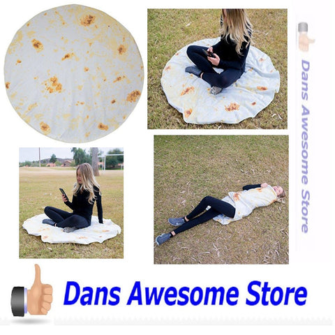 Burrito Blanket, Be a Giant Human Burrito, Tortilla or Taco, Soft & Plush Giant Round Beach Towel for Kids or Adults - Dans Awesome Store