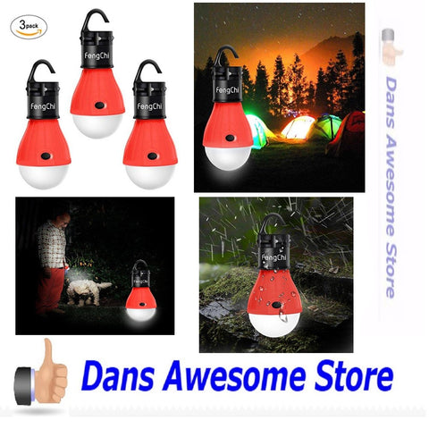 3 Packs Portable Camping LED Lantern Night Light Lamp Emergency Gear Supply Kit - Dans Awesome Store