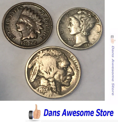 Silver Dime Buffalo Nickel Indian Head - Dans Awesome Store